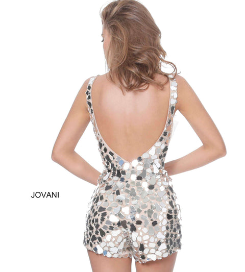 Black Multi Cut Glass V Neck Romper Jovani 03859 - Morvarieds Boutique