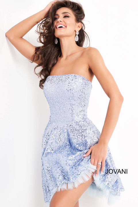 Light Blue Fit and Flare Sequin Homecoming Dress Jovani 04020 - Morvarieds Boutique