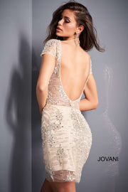 Nude Silver Sheer Bodice Beaded Short Dress Jovani 04024 - Morvarieds Boutique