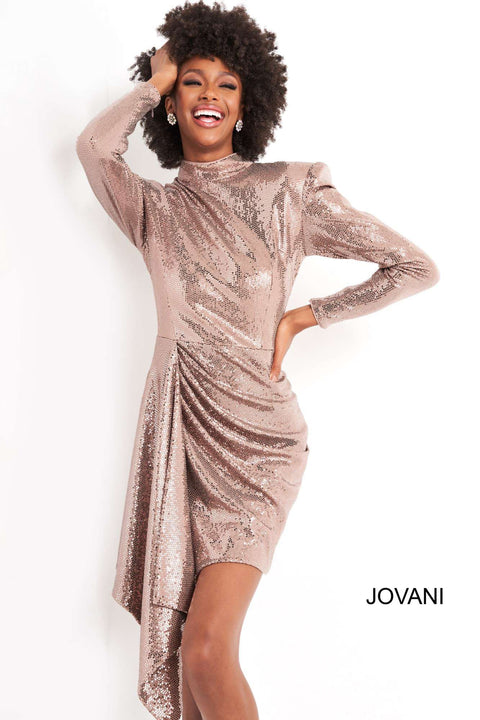 Taupe Metallic Long Sleeve Homecoming Dress Jovani 04271 - Morvarieds Boutique