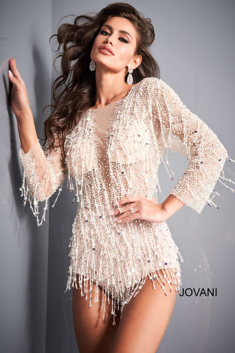 Off White Nude Long Sleeve Beaded Romper Jovani 04338 - Morvarieds Boutique