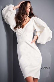 White Long Sleeve Cocktail Dress Jovani 04370 - Morvarieds Boutique