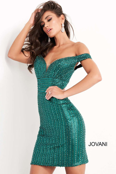 Green Beaded Off The Shoulder Homecoming Dress Jovani 04583 - Morvarieds Boutique