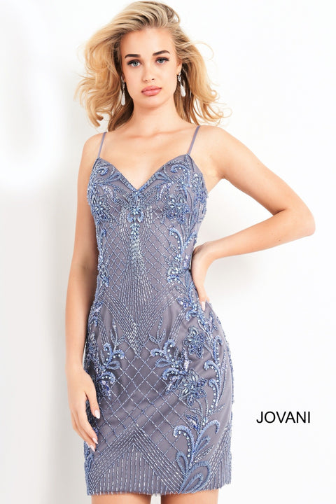 Blue Spaghetti Strap Embellished Homecoming Dress Jovani 04616 - Morvarieds Boutique