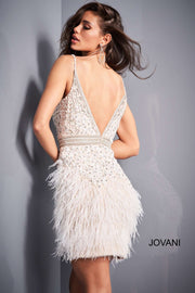 Ivory Beaded Feather Homecoming Dress Jovani 04624 - Morvarieds Boutique
