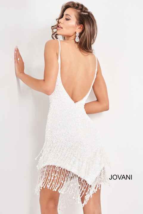 White Sequin Cocktail Dress | Spaghetti Strap Dress Jovani 04866 - Morvarieds Boutique