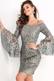 Off The Shoulder Long Sleeve Homecoming Dress Jovani 05109 - Morvarieds Boutique