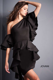 Black Ruffle Sleeve Cocktail Dress Jovani 05155 - Morvarieds Boutique