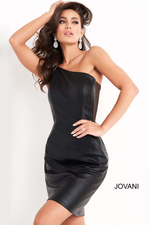 Black One Shoulder Fitted Homecoming Dress Jovani 05186 - Morvarieds Boutique