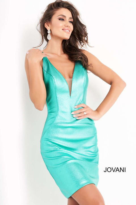 Green Metallic Plunging Neck Homecoming Dress Jovani 05188 - Morvarieds Boutique