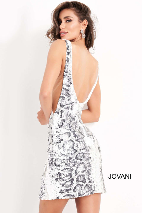 Black White Plunging Neck Homecoming Dress Jovani 05200 - Morvarieds Boutique