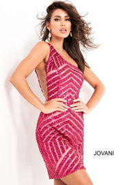 Fuchsia One Shoulder Sequin Homecoming Dress Jovani 06016 - Morvarieds Boutique