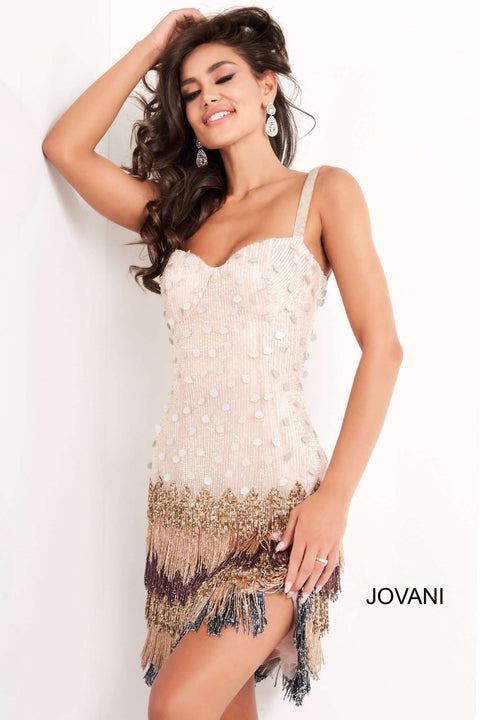Multi Embellished Spaghetti Strap Short Dress Jovani 2657 - Morvarieds Boutique