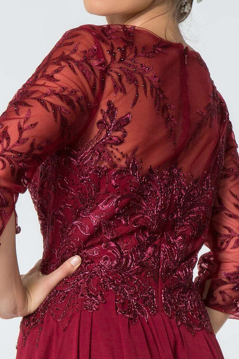 GL2810 Long Dress, Embroidered Bodice in Mauve, Burgundy and Navy - Morvarieds Boutique