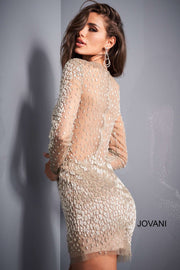 Taupe Beaded Long Sleeve Sheer Cocktail Dress Jovani 3148 - Morvarieds Boutique