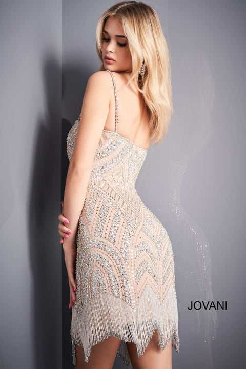 Nude Silver Spaghetti Strap Beaded Short Dress Jovani 4018 - Morvarieds Boutique