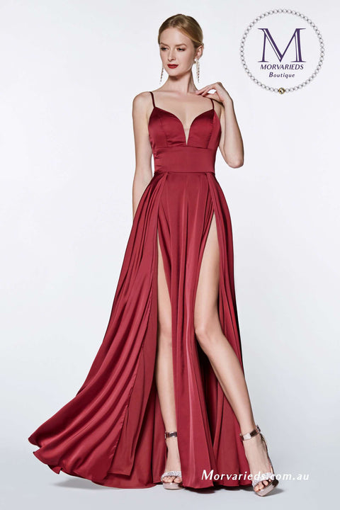 Satin Formal Dress | A-line satin gown with double slit - Morvarieds Boutique