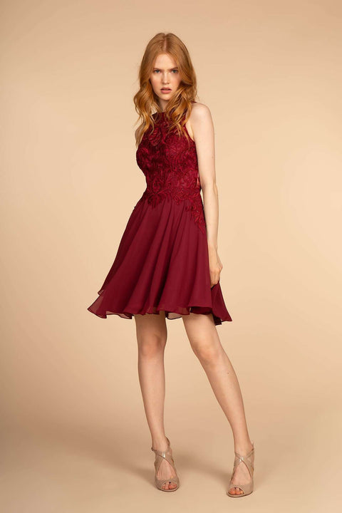 GS1618 Elizabeth K Embroidered Bodice Chiffon Short Cocktail Dress - Morvarieds Boutique
