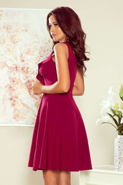Burgundy Party Dress Sleeveless Flared Dress with Frill - Morvarieds Boutique