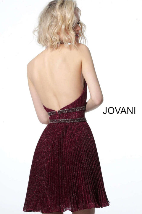 Pleated Cocktail Dress in Burgundy Halter Neckline  2086 - Morvarieds Boutique