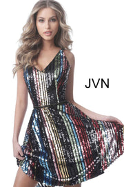 Cocktail Dress Multi Sequin V Neck Fit and Flare  JVN2540 - Morvarieds Boutique