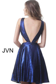Cocktail Dress Royal Fit and Flare V Back Metallic  JVN1499 - Morvarieds Boutique