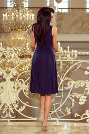 Sleeveless Navy Blue Flared Cocktail Dress - Morvarieds Boutique