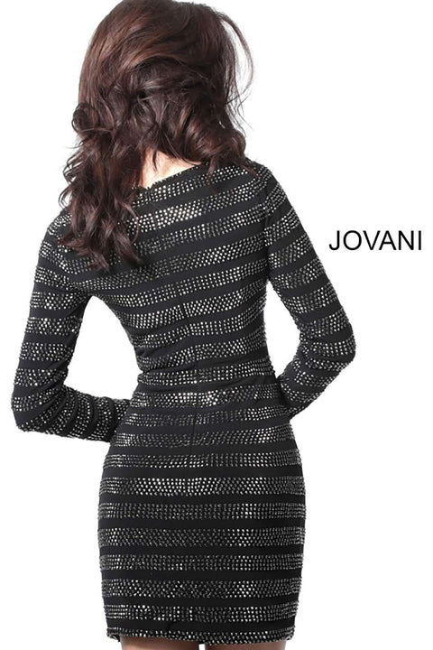 Cocktail Dress Black Boat Neck Long Sleeve  61881 - Morvarieds Boutique
