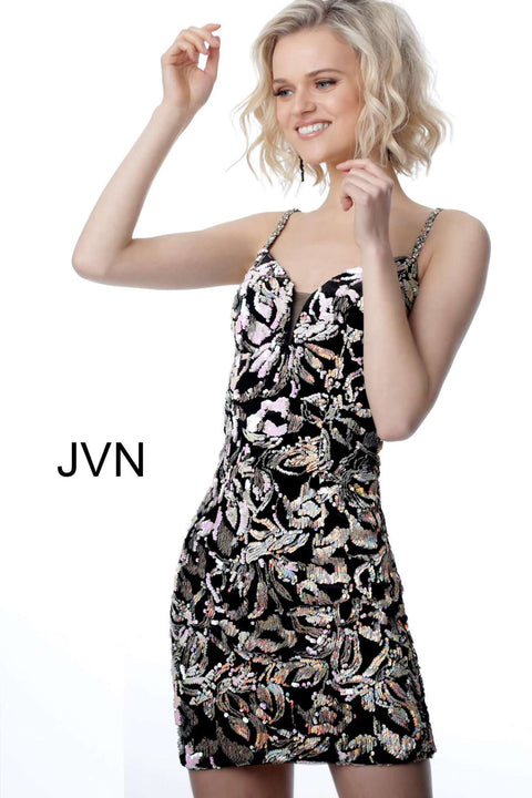 Cocktail Dress Black Multi Plunging Neckline Embellished JVN24731 - Morvarieds Boutique