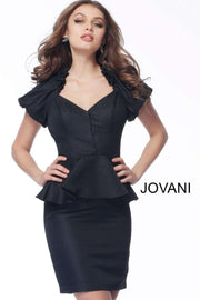 Cocktail Dress Black Short Sleeve V Neck  171598 - Morvarieds Boutique