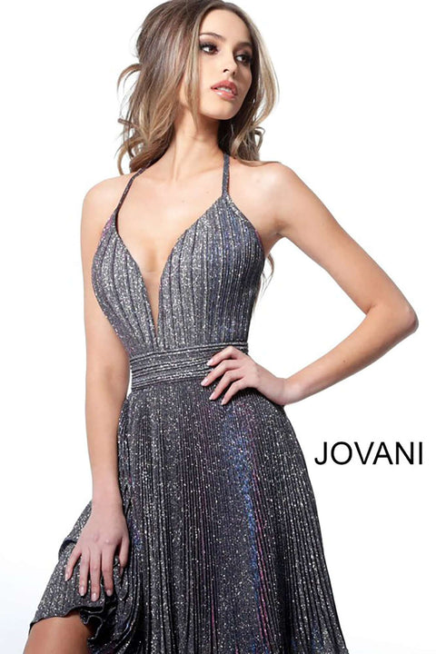 Cocktail Dress Halter Plunging Neckline Pleated  2087 - Royal Mauve and Silver - Morvarieds Boutique