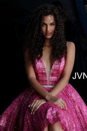 Short Dress Fuchsia Deep V Neckline  JVN62512 - Morvarieds Boutique