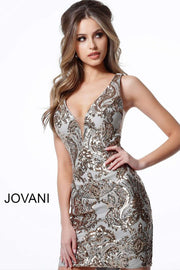 Sleeveless Short Dress in Gold Silver with Low V Neck 3414 - Morvarieds Boutique