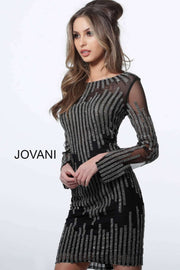 Cocktail Dress Black Long Sleeve Embellished Fitted 3964 - Morvarieds Boutique
