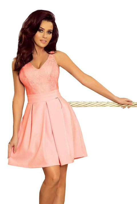 Sleeveless Party Dress with Pleats in Pastel Pink - Morvarieds Boutique