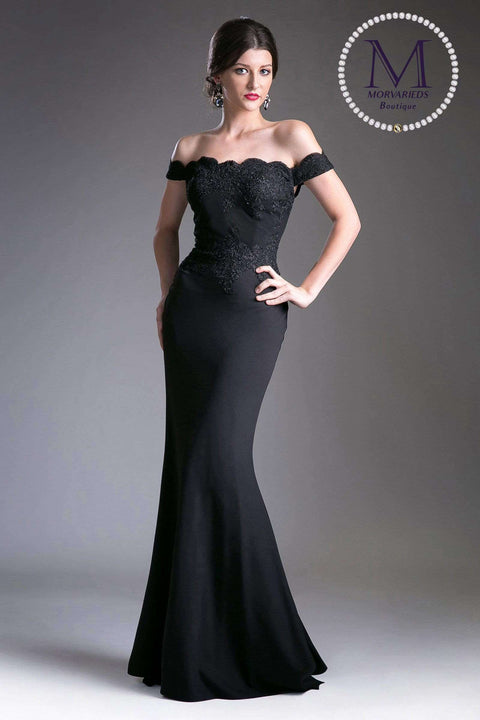 Off the Shoulder Formal Dress with lace applique details and stretch jersey - Morvarieds Boutique