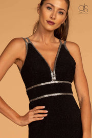 GL2503 Elizabeth K Double Waist-Bands V-Neck Long Dress w/ Strap Back- Black - Morvarieds Boutique