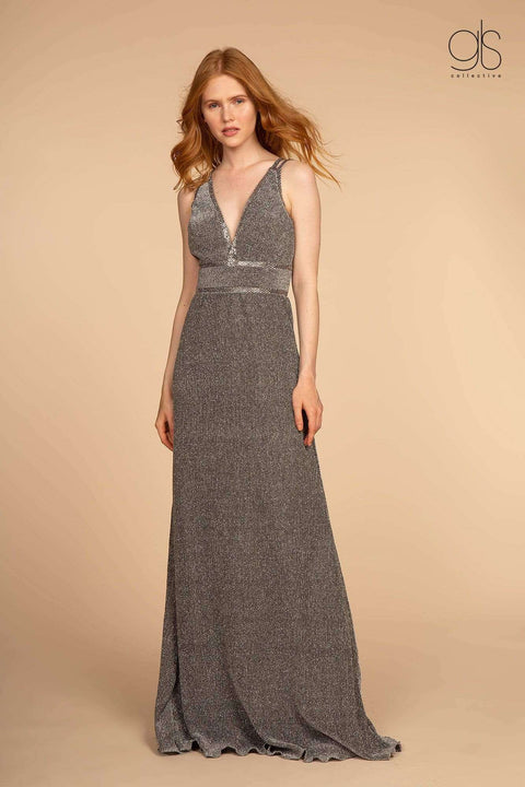 GL2503 Elizabeth K Double Waist-Bands V-Neck Long Dress w/ Strap Back- Dark Silver - Morvarieds Boutique