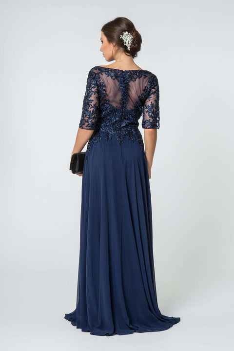 GL2811 Long Dress, Embroidered 1/2 Sleeve w/ Sheer Back - Colour Variants - Morvarieds Boutique