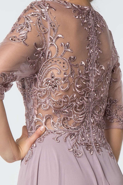 GL2812 Long Dress, Embroidered Bodice Chiffon Dress - Colour Variants - Morvarieds Boutique