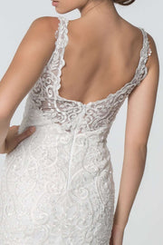 GL2815 Mermaid Wedding Dress, Embroidered Bodice V-Neck -Colour Variants - Morvarieds Boutique