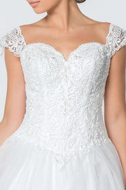GL2817  Wedding Dress, Jewel and Lace Embellished Glitter Mesh Wedding Gown - Morvarieds Boutique