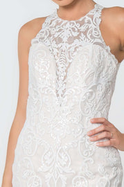 GL2818  Wedding Dress, Lace Embellished Mesh Wedding Gown - Morvarieds Boutique