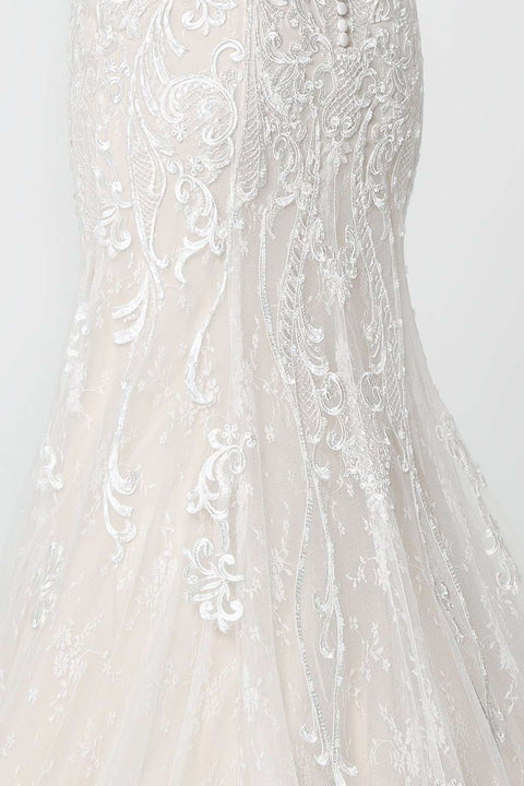GL2820 Wedding Dress, Lace Embellished Illusion Deep V-Neck Wedding Gown - Morvarieds Boutique