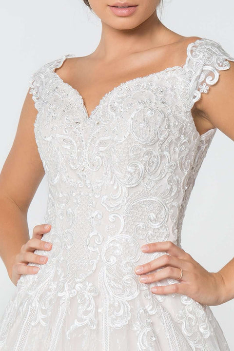 GL2823 Wedding Dress, Lace Embellished Bodice A-Line Wedding Gown - Morvarieds Boutique