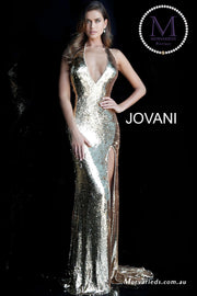 Gold Formal Dress | Halter Neck Backless Sequin Jovani Dress 62360 - Morvarieds Boutique