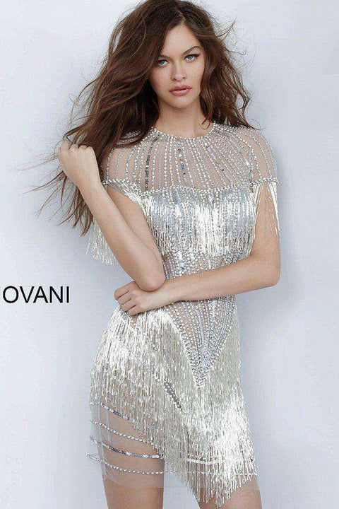 Grey Silver Cocktail Dress, Sheer Neckline Embellished Short Dress 11999 - Morvarieds Boutique