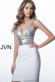 Sleeveless Cocktail Dress in Ivory with Embellished Bodice JVN1333 - Morvarieds Boutique