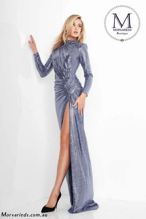 Metallic Dress | Long Sleeve Metallic Prom Dress Jovani 1707 - Morvarieds Boutique