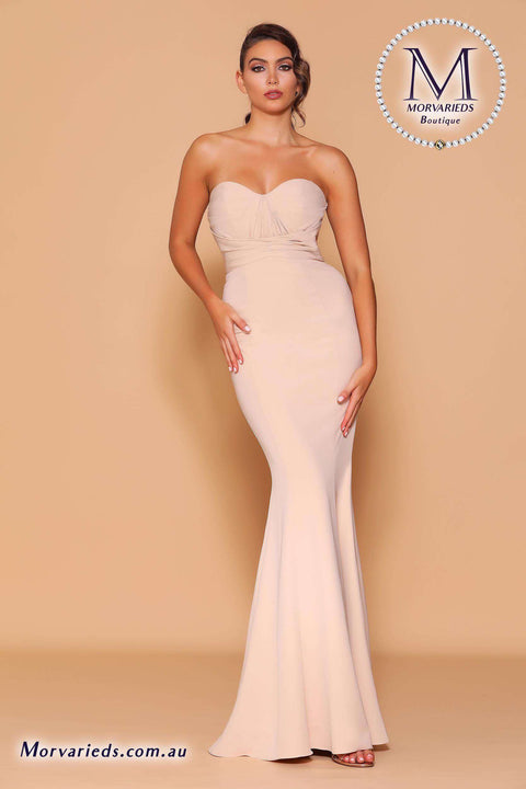 Strapless Gown in Nude | Jadore Les Demoiselle LD1123 Dress - Morvarieds Boutique